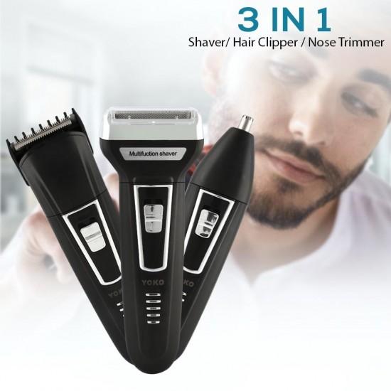 3 in 1 Shaver, hair clipper, nose trimmer - Yoko yk